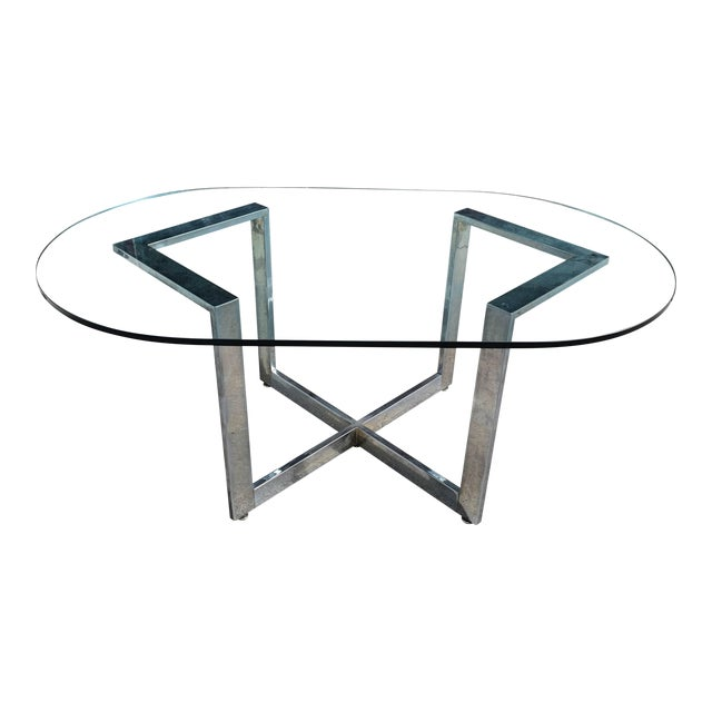 Vintage Chrome Dining Table With Glass Top For Sale