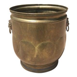 Vintage Lion Head Brass Jardiniere