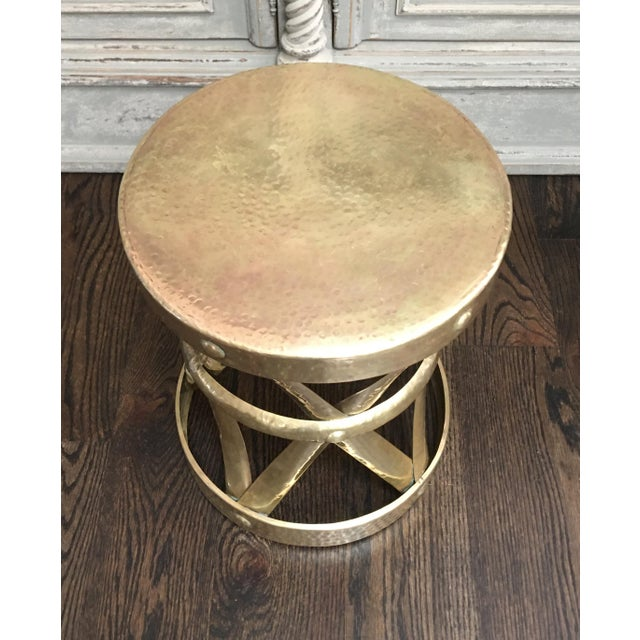 Mid-Century Sarreid Ltd. style brass Modernist drum table or stool. There is no maker's mark or label, but it still bears...