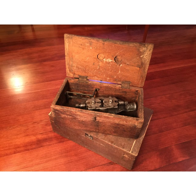Antique Industrial Pipe Threader & Two Wood Boxes - Image 2 of 7