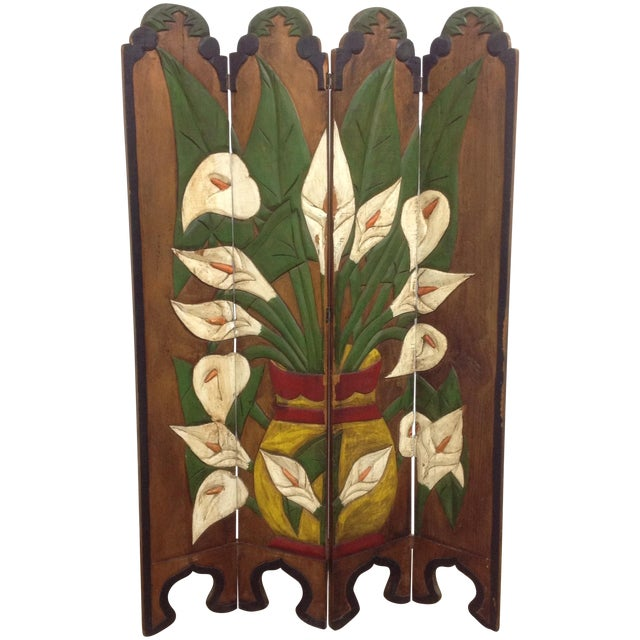Diego Rivera Style Carved Relief 4 Panel Screen - Image 1 of 5