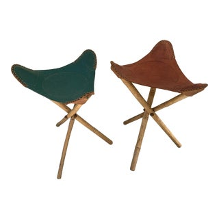 VintageMid Century Bamboo and Leather Tooled Tripod Saddle Stools- A Pair For Sale