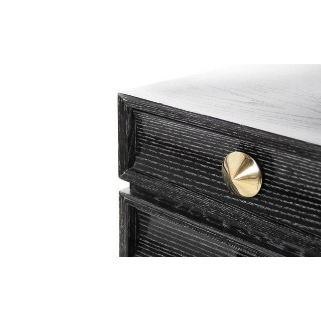 Metal Stamford Modern's Stacked Bedside Tables in Black Ceruse - a Pair For Sale - Image 7 of 11