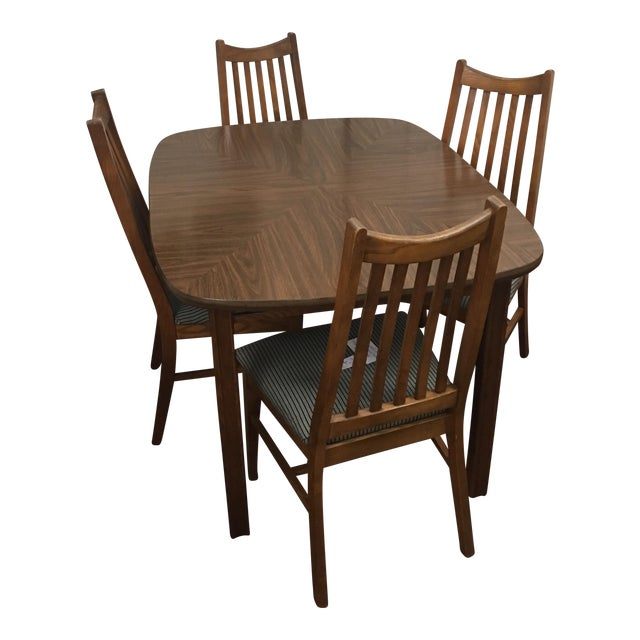 Mid-Century Wood Dining Set - Image 1 of 10