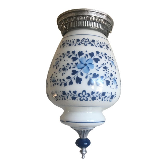 Mid Century Milk Glass Floral Flush Light For Sale