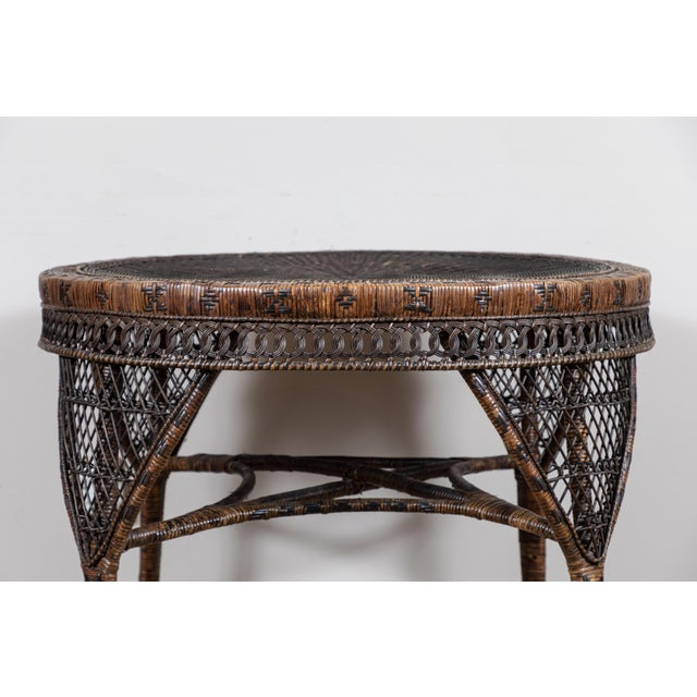Americana Victorian Wicker Round Side Table For Sale - Image 3 of 11
