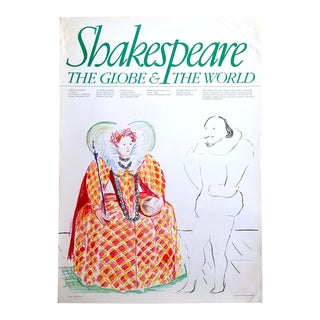 "David Hockney Rare Vintage 1979 Lithograph Print "" Shakespeare the Globe & the World "" Exhibition Poster For Sale"