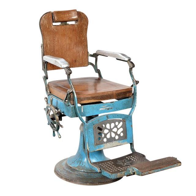 Vintage Wood Amp Iron Barber Chair Chairish