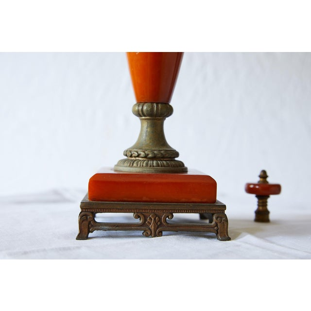 Petite Art Deco Lamp of Orange Bakelite For Sale - Image 9 of 13