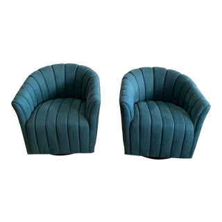 Tufted Swivel Chairs-a Pair For Sale