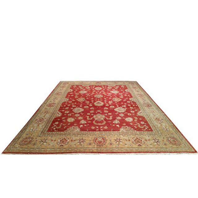 Traditional Rug made with 100% wool in beautiful color of red, gold. Perfect condition. Traditional Hand Made Knotted Rug....