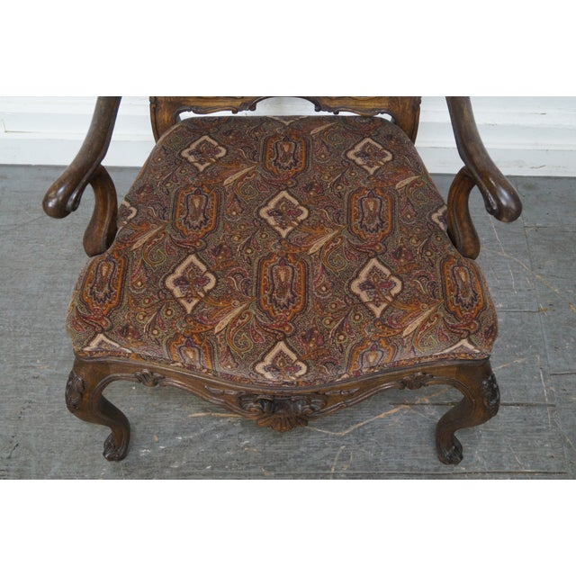 Rococo Style Carved Arm Chair - Image 11 of 11