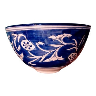 Large Chinoiserie Poppy Pod Blue and White Oriental Bowl For Sale
