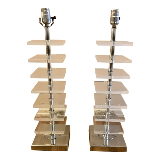 A Pair of Stacked Lucite Block Table Lamps - Image 1 of 9