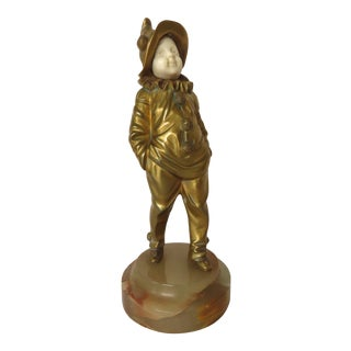 French Bronze Pierrot Boy Signed Sculpture by George Omerth For Sale