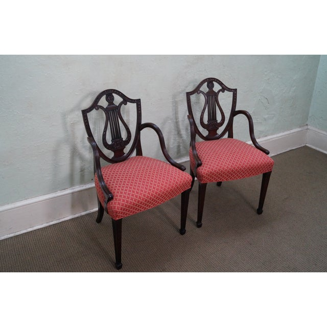 Mahogany Adams Carved Shield Back Chairs - A Pair - Image 5 of 10