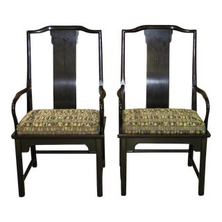 1960s Vintage Asian Style Arm Chairs- A Pair For Sale