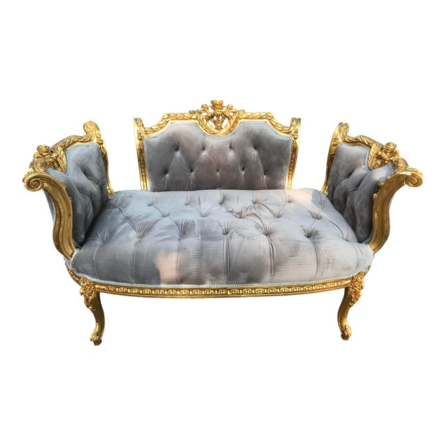 French Louis XVI Style Gray Settee For Sale