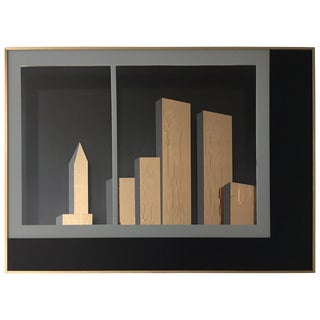 Nyc Cityscape Cubist Gold and Black Mirror Wall Art by Jon Gilmore, 1980s For Sale