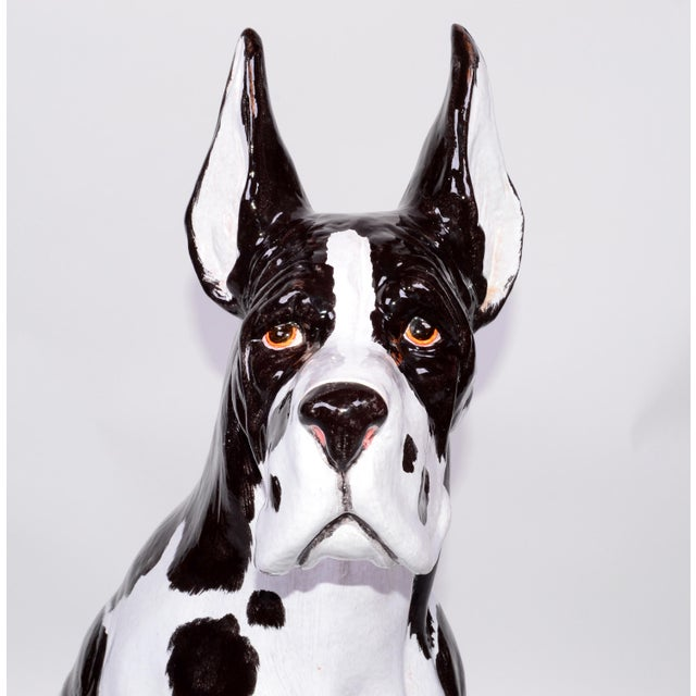 Hollywood Regency Italian Ceramic Life Size Great Dane Sculpture For Sale - Image 3 of 12