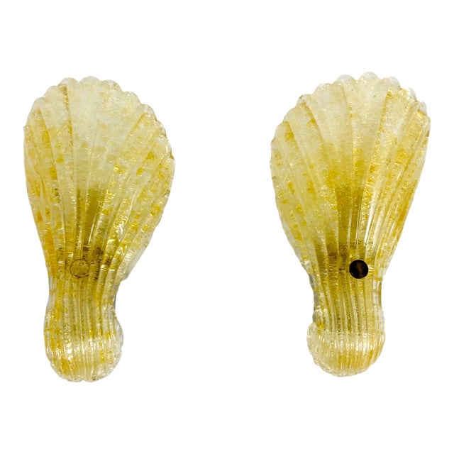 1960s Mid-Century Modern Shell Shaped Murano Glass Wall Lamps by Fischer Leuchten, Germany- a Pair For Sale