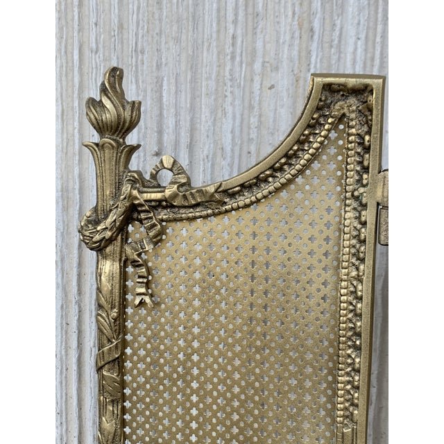 Bronze 19th Century French Louis XVI Style, Three-Panel Bronze Fire Screen For Sale - Image 7 of 9