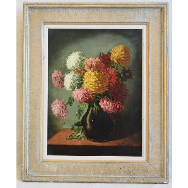 M E Wright chrysanthemums in vase floral oil painting on canvas by artist M E Wright. Signed lower right. Displayed in a...
