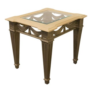 20th Century Traditional Stanley Furniture Heritage Collection Glass Topped End Table For Sale