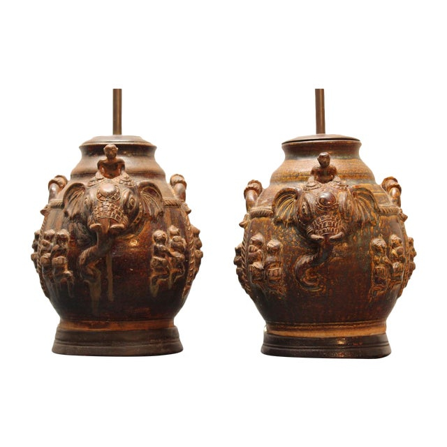 East Indian Elephant Lamps- A Pair For Sale