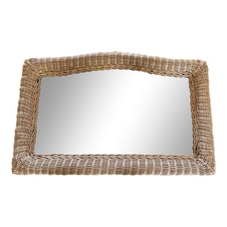 Vintage 1970s Wicker Wall / Mantle Mirror For Sale