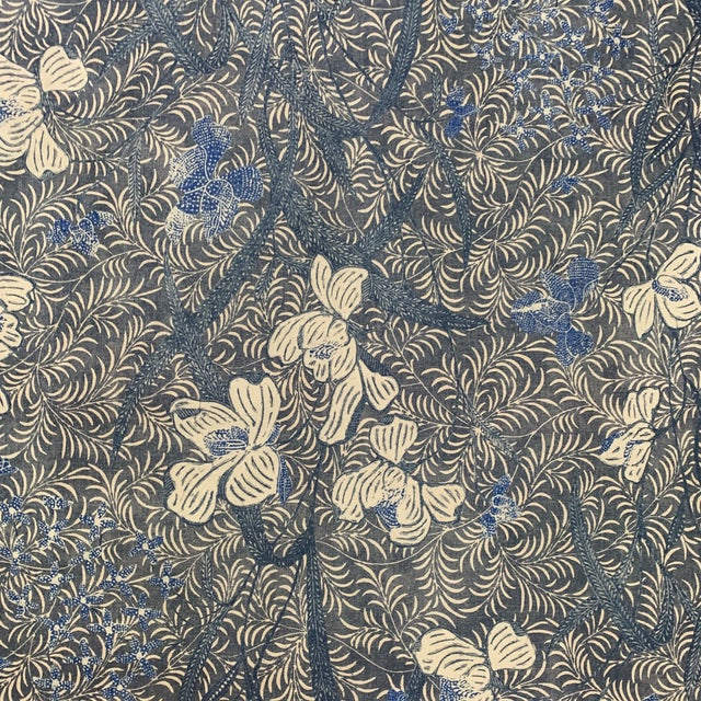 Designer Blue on Off White Ralph Lauren Printed Fabric- 1 1/4 Yards For Sale