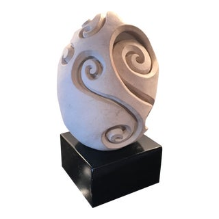 Abstract Ceramic Figure Egg Shape on Base Sculpture For Sale