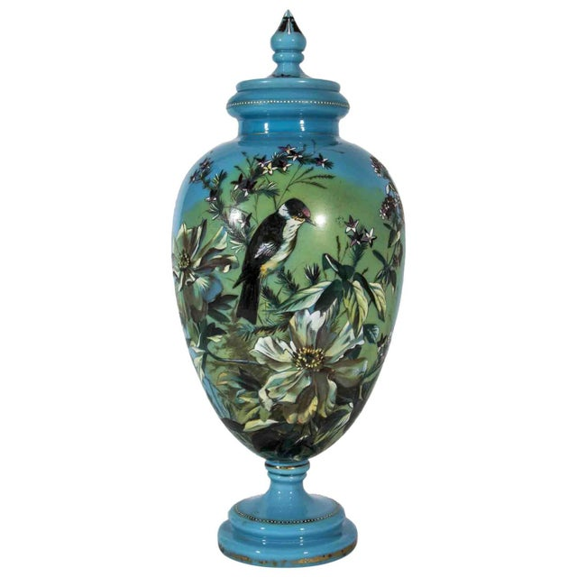 Antique Hand-Painted Covered Urn For Sale - Image 4 of 4