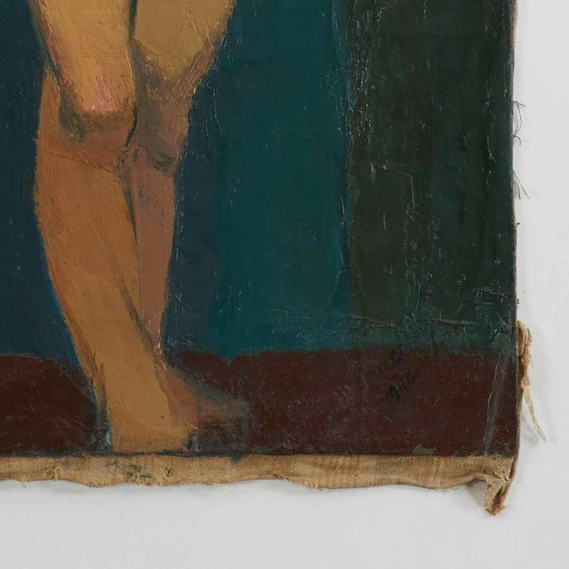 Early 20th century oil painting of nude female on blue background.
