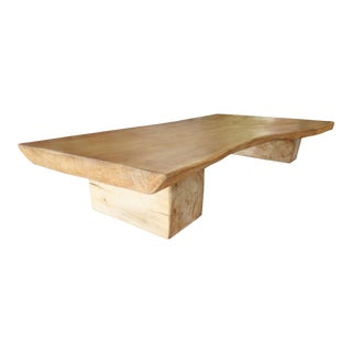 1980s Rustic Live Edge Slab Coffee Accent Table For Sale