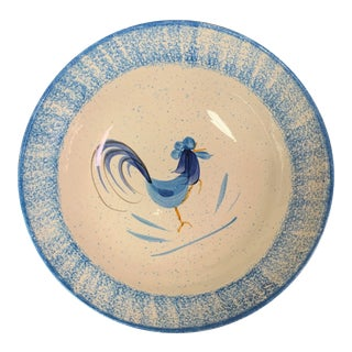 Mid-Century Large Blue and White Pottery Chicken Bowl For Sale