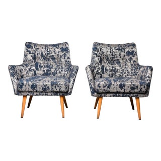 Italian Mid Century Armchairs With Blue and Silver Upholstery - a Pair For Sale
