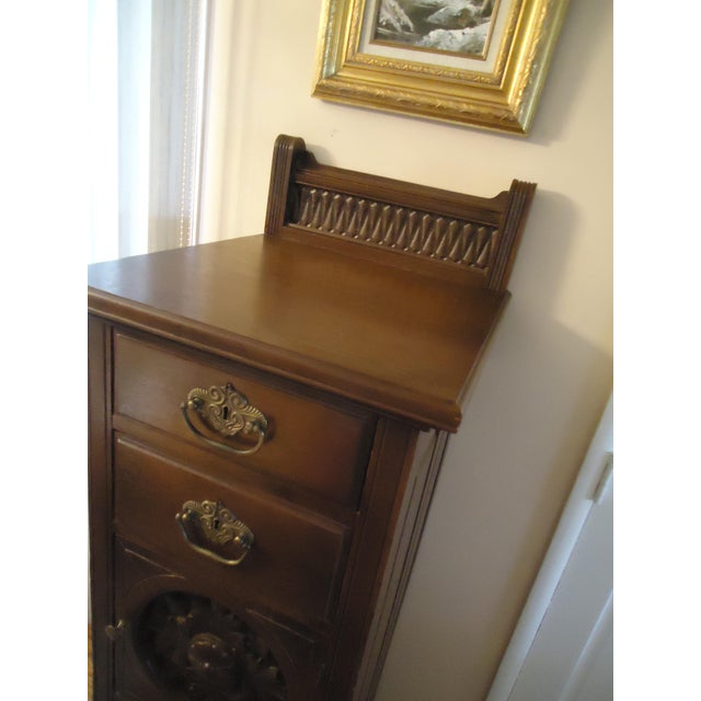 1870- 1893 Antique Nelson Matter & Co. Mahogany Carved Wood File Storage Cabinet For Sale - Image 4 of 11