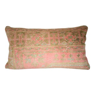 Bohemian Decor Handmade Distressed Oushak Rug Pillow Cover, Accent Kilim Pillow Cover 16'' X 30'' (40 X 75 Cm) For Sale