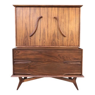 Mid Century Sculpted Highboy For Sale