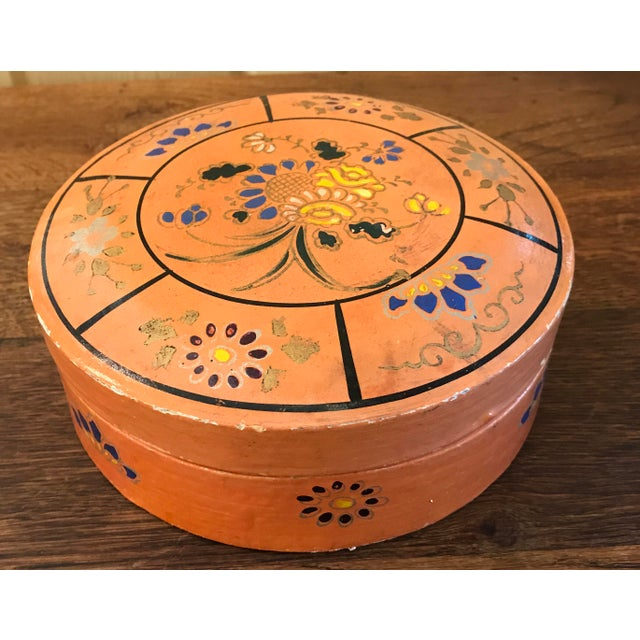 Nice mid-century paper mache box from Japan in a pretty peach or coral color. Hand Painted with floral pattern. Many uses...