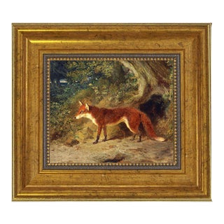 "Show Variant Fox and Feathers Framed Oil Painting Print on Canvas in Antiqued Gold Frame A 5 X 6"" Framed to 8-1/2 X 9-1/2"" For Sale"