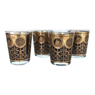 VintageBlack and Gold Gatsby Whiskey Glass Set - Four Pieces For Sale