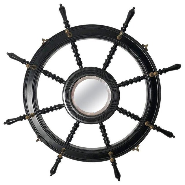 19th Century Ebonized and Turned Wood Ship's Wheel Mirror and Hat and Coat Rack For Sale - Image 11 of 11