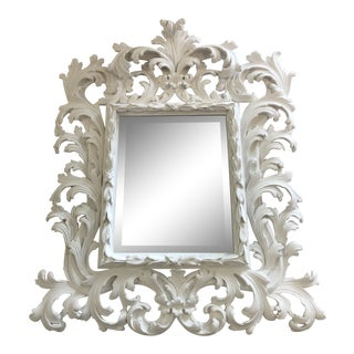 Rococo Style Painted White Wall Mirror For Sale