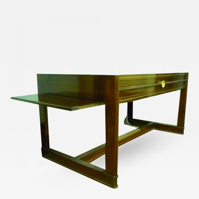 Art Deco pure rosewood desk with slide leaves.