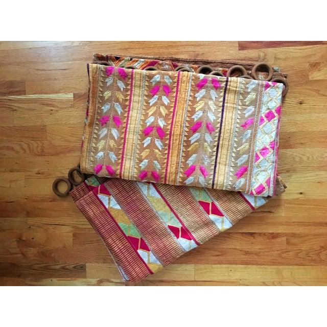 Antique Indian Phulkari Fabric Panels - A Pair - Image 5 of 12