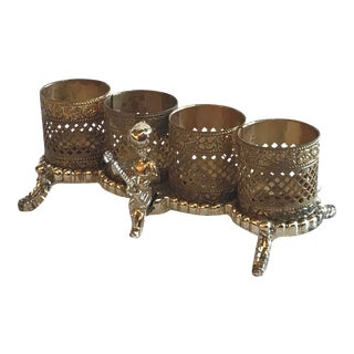 Vintage Hollywood Regency Gold and Silver Metal Lipstick Holder, Early 20th Century For Sale