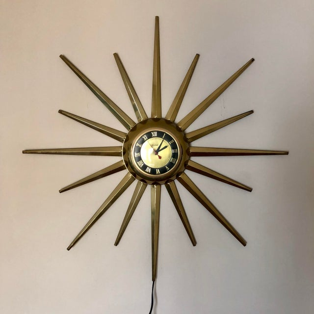 Mid Century United Brass Starburst Wall Clock For Sale - Image 9 of 9