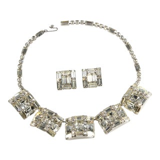 Weiss Necklace Earrings Set Clear Rhinestones Vintage Demi Parure For Sale